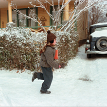 A Christmas Story Ralphie running in front of house