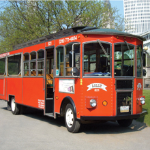 Trolley Tours trolley front view