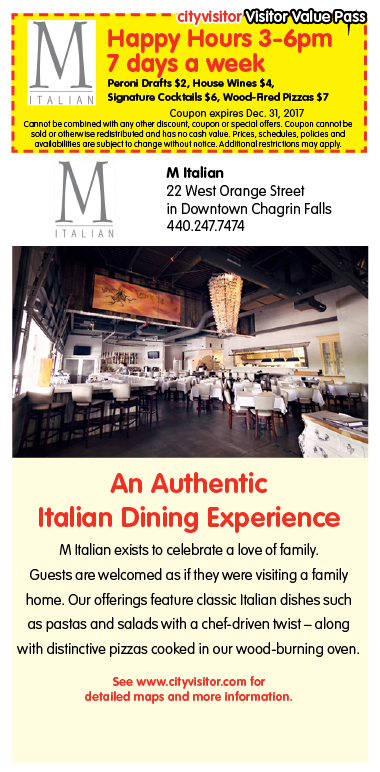M Italian Chagrin Falls, Visitor Value Pass, Happy Hours 7 days a week