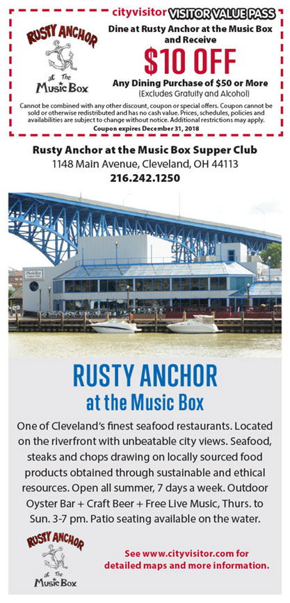 $10 OFF Dining purchase of $50 at Rusty Anchor at the Music Box.